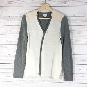 Chico's Gray Cream Long Sleeves Open Cardigan Sz 0
